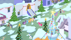 Mane 6 laughing in snowy Canterlot S2E11