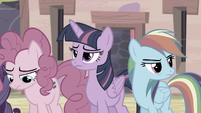 Pinkie, Twilight, and Rainbow keeping silent S5E2