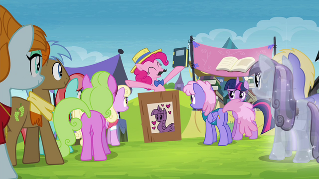 File:Pinkie Pie opens auction for Twilight's books S4E22.png