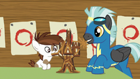 Pip and Thunderlane make Twilight's castle out of popsicle sticks S7E21