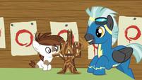 Pip and Thunderlane make Twilight's castle out of popsicle sticks S7E21