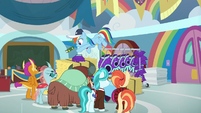 Rainbow tosses a book to Ocellus S9E15