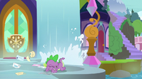 Spike shields his eyes from Derpy's crash S9E5