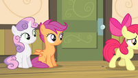 Sweetie and Scootaloo sees Apple Bloom walking S4E17