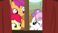 Apple Bloom and Scootaloo nudging Sweetie Belle S5E6.png