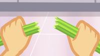 Applejack snaps a celery stalk in half SS9