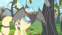 Bat lands onto Rarity's hazmat suit S4E07