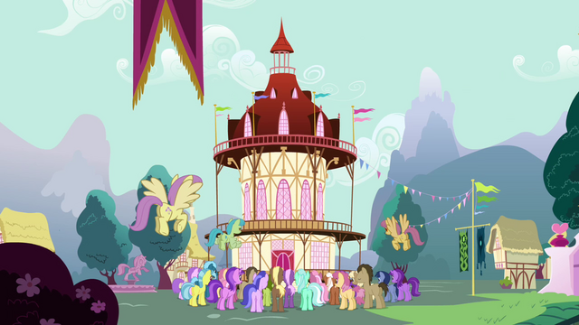 File:Crowd of ponies gathering in front of town hall S3E05.png