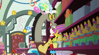 Discord looking at napkins on the shelf S7E12