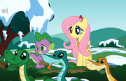 Fluttershy Spike and Snakes
