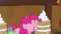 Pinkie Pie takes a bite of vanilla yak cake S7E11