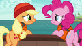 Pinkie and AJ looking at each other disappointed S6E22.png