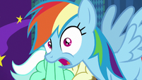 Rainbow Dash photobombs Lyra and Bon Bon S8E5