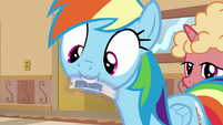 Rainbow Dash taking a rollercoaster ticket S8E5