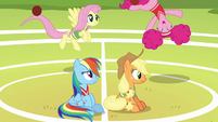 Rainbow and AJ watch Fluttershy and Pinkie have fun S6E18
