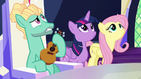 Twilight, Fluttershy, and Zephyr hear Spike above S6E11
