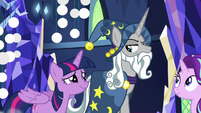 Twilight Sparkle smiling in awe at Star Swirl S7E26