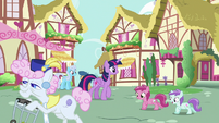 Twilight Sparkle walking past ponies S7E14