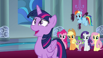 Twilight having a nervous laugh S9E1