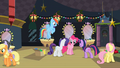 Twilight talking to Rainbow, Rarity and Pinkie backstage after play S2E11.png