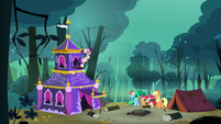 Applejack, Rainbow Dash, Scootaloo and Apple Bloom sees Rarity's tent S3E06