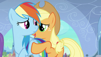 Applejack about to push Rainbow away S3E2