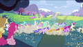 Applejack and Pinkie Pie seeing ponies chasing S2E03.png
