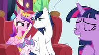 Cadance, Shining Armor, and Flurry happy together MLPBGE