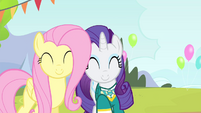 Fluttershy and Rarity smiling S4E14