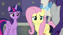 Fluttershy smiling warmly at Rarity S8E4