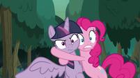 Pinkie Pie grabbing fake Twilight in shock S8E13