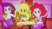 Rarity, AJ, and Pinkie waving to DJ Pon-3 EG2