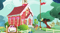 School foals leaving the schoolhouse S8E12