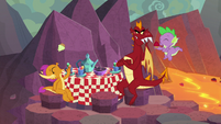 Spike, Garble, and Smolder having tea party S9E9