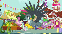 Spike and Gabby fly through Ponyville S9E19