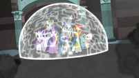 Star Swirl keeping his allies in a magic barrier S7E26