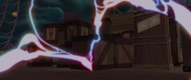 Tempest's magic surging toward the crates MLPTM