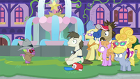 Tourist Pony sitting in shock S8E11