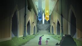 Twilight e Spike caminhando dentro do castelo T4E03