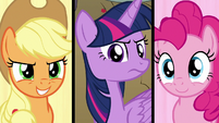Twilight gives orders to AJ and Pinkie S9E13