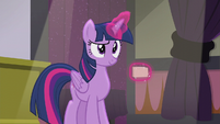 Twilight looking coyly at Spike S5E25