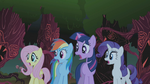 Fluttershy, Rainbow Dash, Twilight and Rarity gasp S01E02