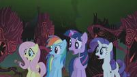 Fluttershy, Rainbow Dash, Twilight and Rarity gasp S01E02