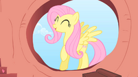 Fluttershy entering Twilight's house S01E16