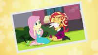 Photo of Sunset Shimmer hugging Angel EGFF