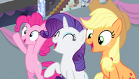 Pinkie, Rarity, and Applejack cheering S4E24