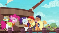 Pirate Applejack walking to the ship S6E22