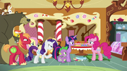 Ponyville ponies talk to Pinkie about Rainbow S6E15