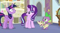 Spike mentions Twilight's royal etiquette lesson S9E20