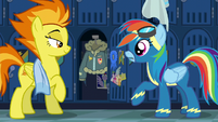 Spitfire reveals Rainbow Dash's jacket S6E7